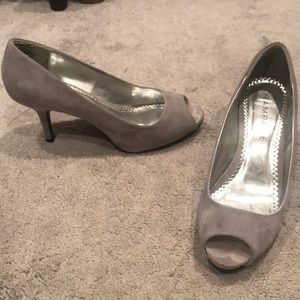 Grey peep toe heels